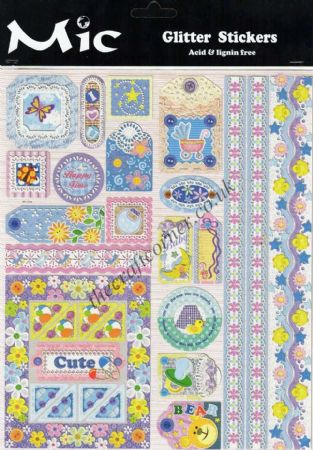 Baby & Children Cute Borders, Corners & Tags Embossed Glitter Sticker